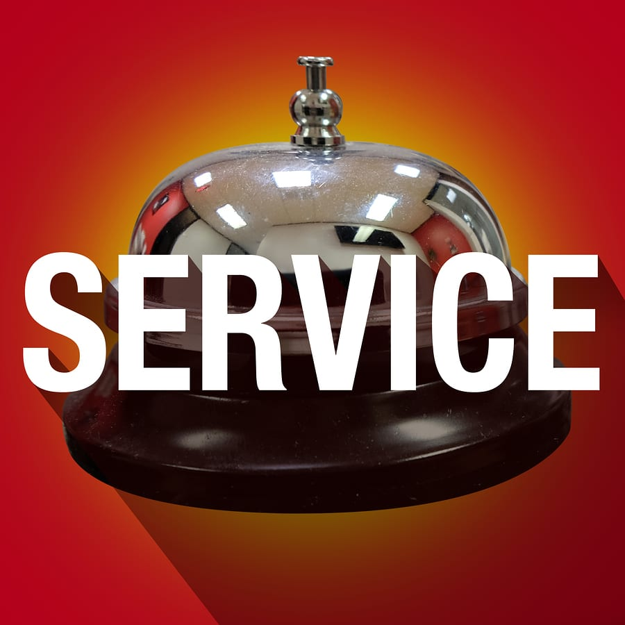 Service word with long shadow over bell for help or assistance